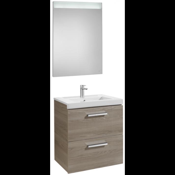 Mueble de baño con dos cajones y espejo LED 60cm Fresno Prisma Roca