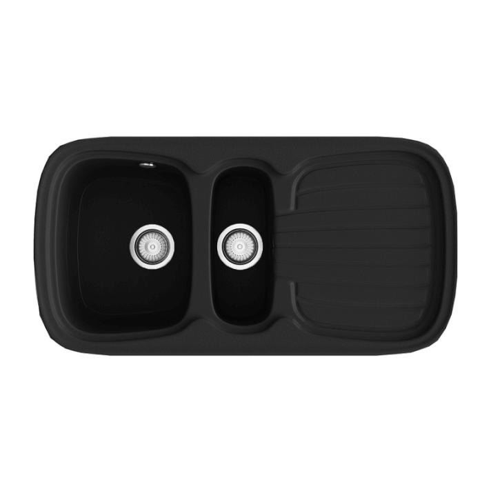 Fregadero de 2 cubas con escurridor negro 975 x 505mm Opalo Basic Poalgi