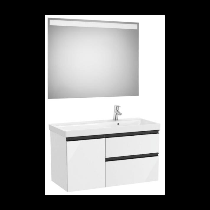 Conjunto de baño con lavabo derecho 100cm Blanco Brillo Domi Roca