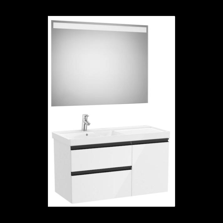 Conjunto de baño con lavabo izquierdo 100cm Blanco Brillo Domi Roca