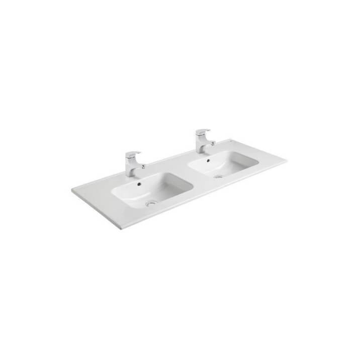 Plan vasque double à encastrer Gala Smile 121 x 46 x 1,5 cm