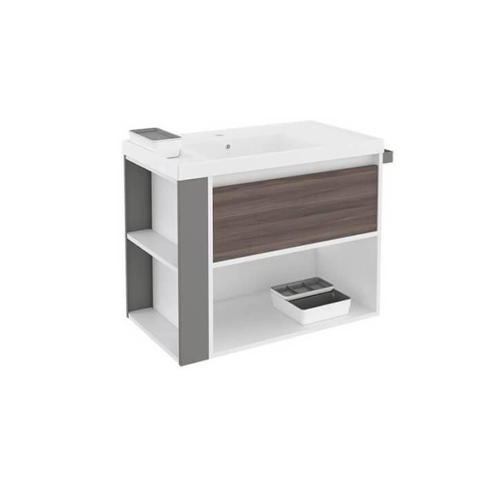Mueble con lavabo resina 80cm Blanco-Fresno/Gris B-Smart BATH+