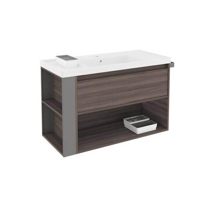 Mueble con lavabo resina 100cm Fresno/Gris B-Smart BATH+