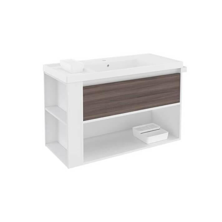 Mueble con lavabo resina 100cm Blanco-Fresno/Blanco B-Smart BATH+