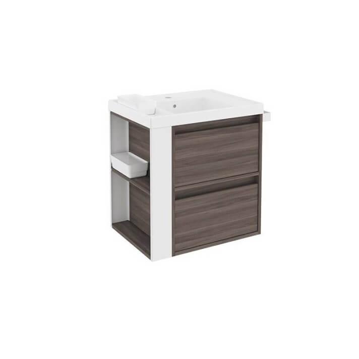 Mueble con lavabo resina 60cm Fresno/Blanco 2 cajones B-Smart BATH+