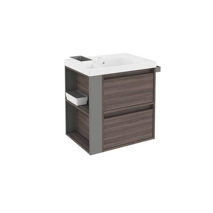 Mueble con lavabo resina 60cm Fresno/Gris 2 cajones B-Smart BATH+