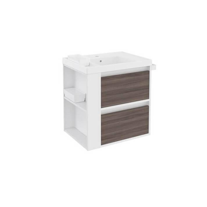 Meuble avec plan vasque en résine Blanc-Frêne/Blanc 60 cm avec 2 tiroirs B-Smart Bath+