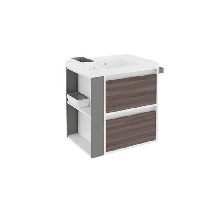 Mueble con lavabo resina 60cm Blanco-Fresno/Gris 2 cajones B-Smart BATH+