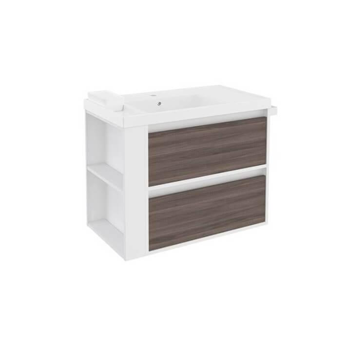 Meuble avec plan vasque en résine Blanc-Frêne/Blanc de 80 cm avec 2 tiroirs B-Smart Bath+