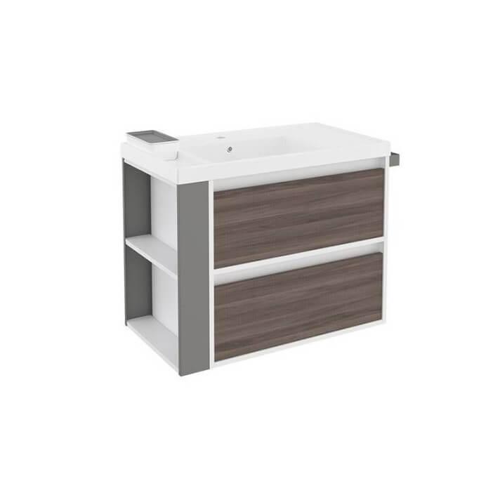 Meuble avec plan vasque en résine Blanc/Frêne/Gris de 80 cm avec 2 tiroirs B-Smart Bath+