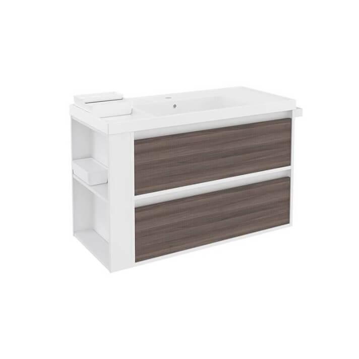Mueble con lavabo resina 100cm Blanco-Fresno/Blanco 2 cajones B-Smart BATH+