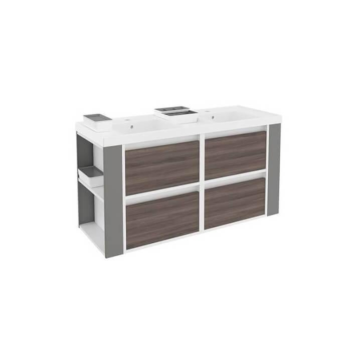 Mueble 120cm Fresno-Blanco/Gris de 4 cajones Bath+ B-Smart