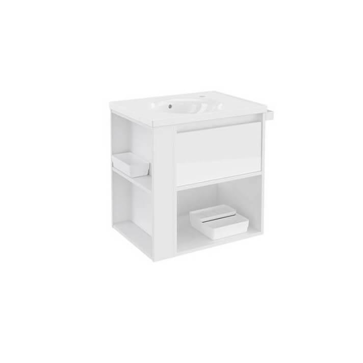 Mueble con lavabo porcelana 60cm Blanco/Blanco B-Smart BATH+