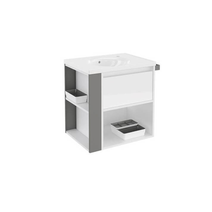 Mueble con lavabo porcelana 60cm Blanco/Gris B-Smart BATH+