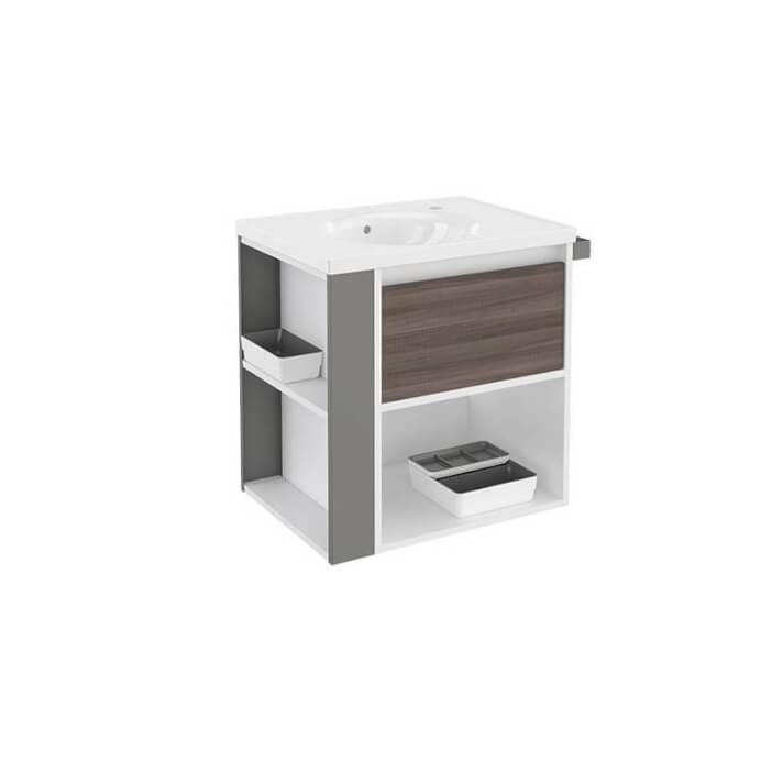 Mueble con lavabo porcelana 60cm Blanco-Fresno/Gris B-Smart BATH+