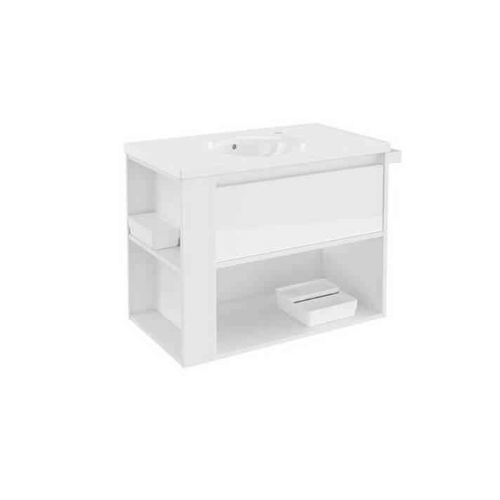 Mueble con lavabo porcelana 80cm Blanco/Blanco B-Smart BATH+