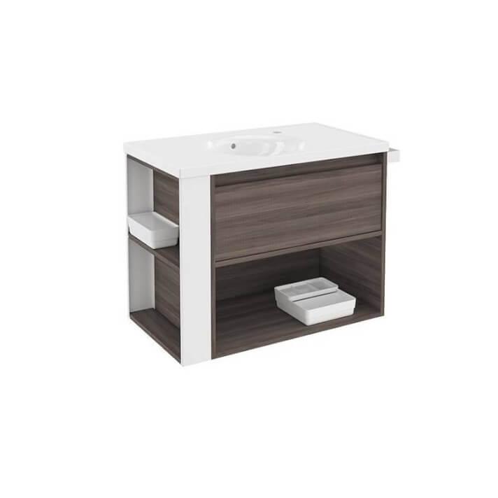 Meuble avec plan vasque en porcelaine Blanc/Frêne de 80 cm B-Smart Bath+