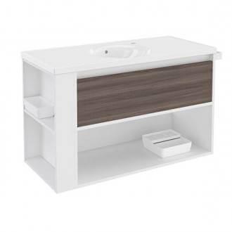 Mueble con lavabo porcelana 100cm Blanco-Fresno/Blanco B-Smart BATH+