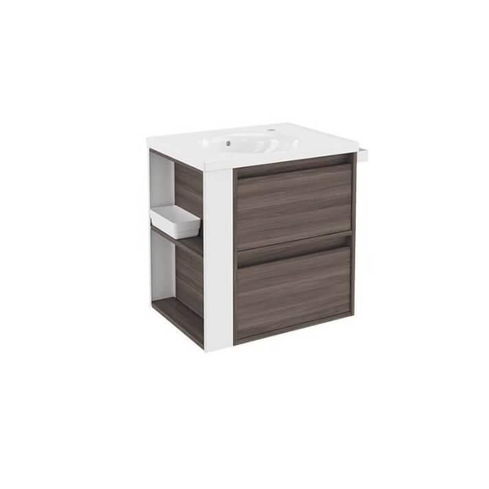 Mueble con lavabo porcelana 60cm Fresno/Blanco 2 cajones B-Smart BATH+