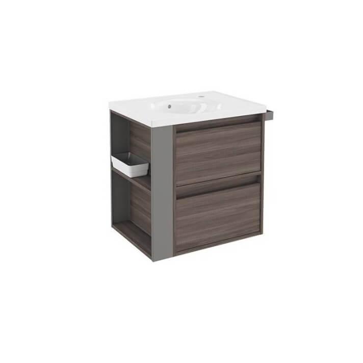 Mueble con lavabo porcelana 60cm Fresno/Gris 2 cajones B-Smart BATH+