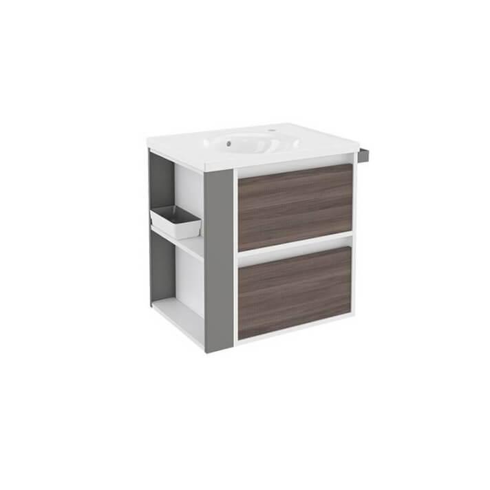 Mueble con lavabo porcelana 60cm Blanco-Fresno/Gris 2 cajones B-Smart BATH+