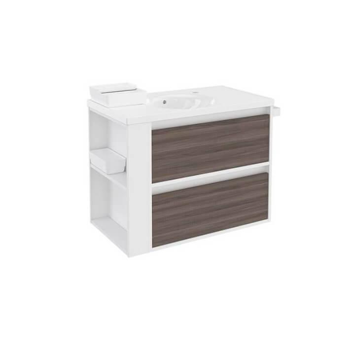 Meuble avec plan vasque en porcelaine Blanc-Frêne/Blanc 80 cm avec 2 tiroirs B-Smart Bath+
