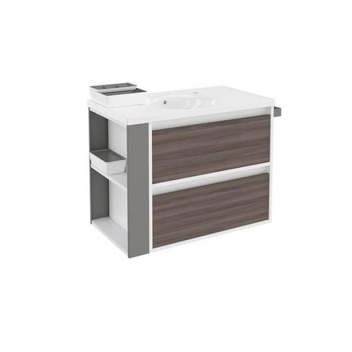 Mueble con lavabo porcelana 80cm Blanco-Fresno/Gris 2 cajones B-Smart BATH+