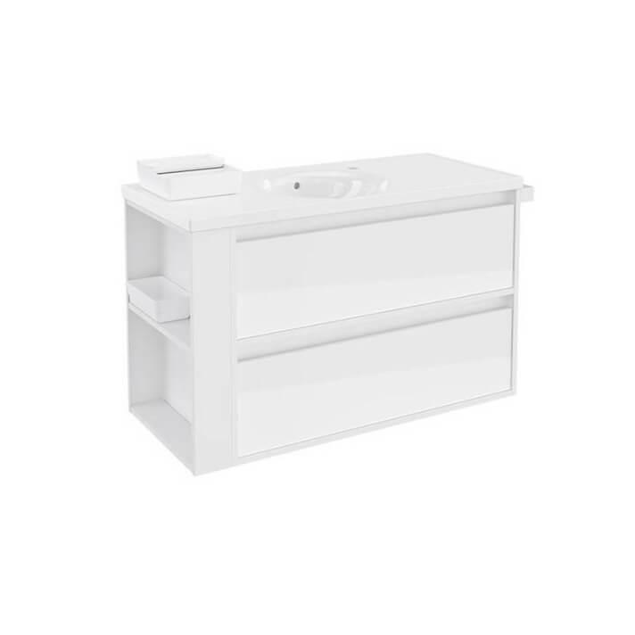 Meuble avec plan vasque en porcelaine Blanc 100 cm avec 2 tiroirs B-Smart Bath+
