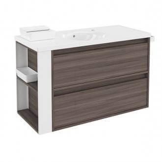 Mueble con lavabo porcelana100cm Fresno/Blanco 2 cajones B-Smart BATH+