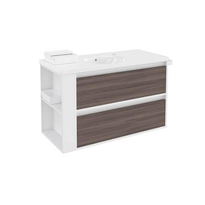 Meuble avec plan vasque en porcelaine Blanc-Frêne/Blanc 100 cm avec 2 tiroirs B-Smart Bath+