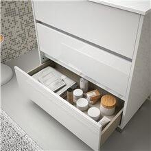 Meuble 101 cm blanc brillant 3 tiroirs Arenys...