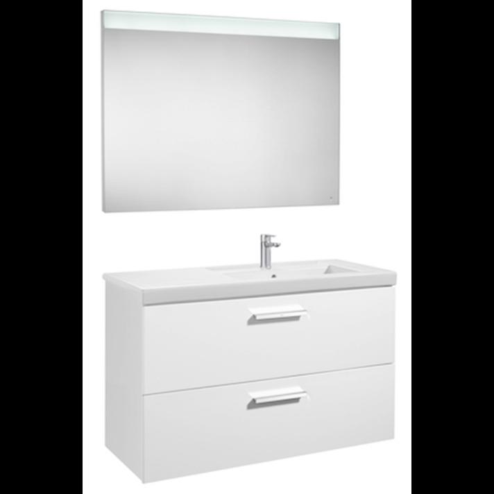 Mueble con dos cajones de lavabo derecho y espejo LED 110cm Blanco Brillo Prisma Roca