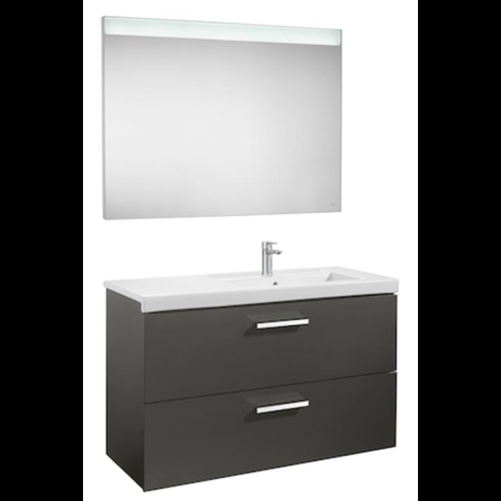 Mueble con dos cajones de lavabo derecho y espejo LED 110cm Gris Antracita Prisma Roca