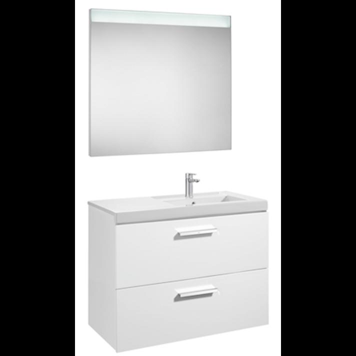Mueble con dos cajones de lavabo derecho y espejo LED 90cm Blanco Brillo Prisma Roca