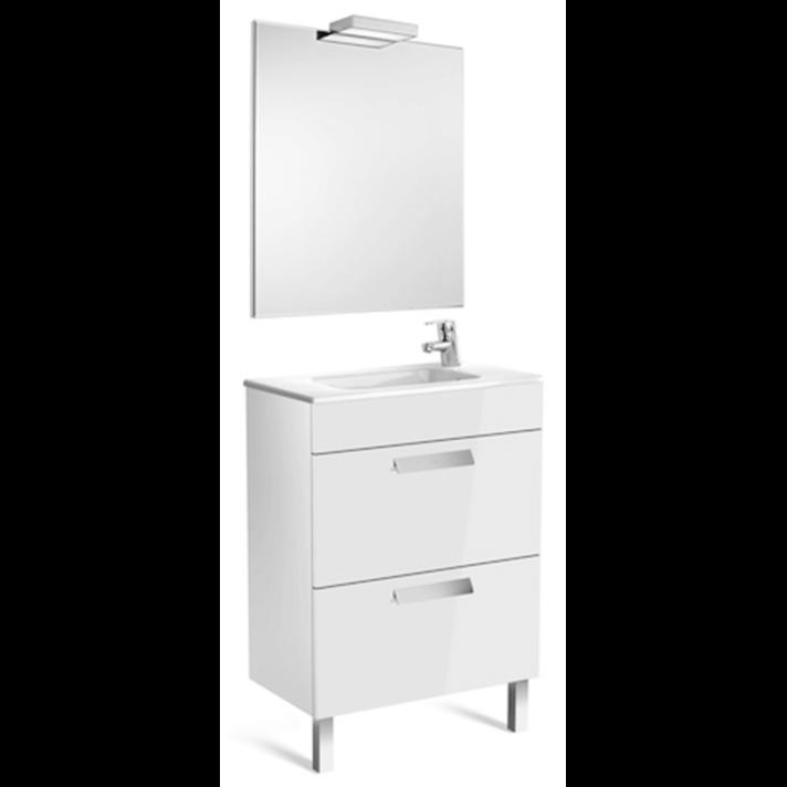 Pack mueble blanco 60cm compacto 2 cajones Debba Roca
