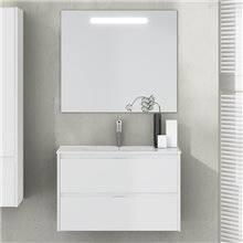 Mueble con lavabo de fondo reducido 60 Blanco...