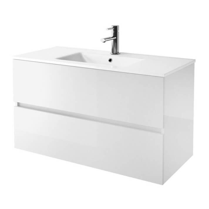 Mueble 71cm Blanco Brillo 2 cajones FUSSION LINE SALGAR