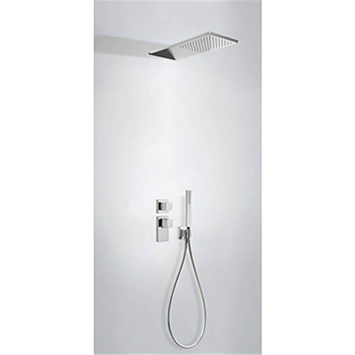 Kit de ducha termostático empotrado ECO Tres INOX manetas cubo