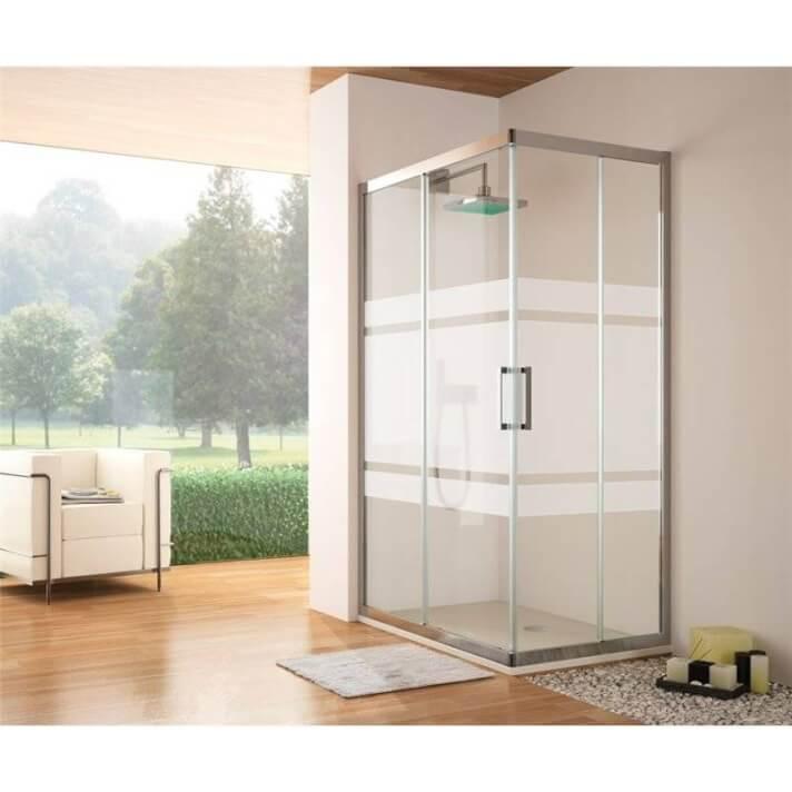 Box doccia angolare 2 porte scorrevoli decorazione Bali TR105 Kassandra
