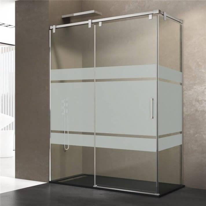 Pare-douche d'angle 1 porte coulissante avec motifs FUTURA GME