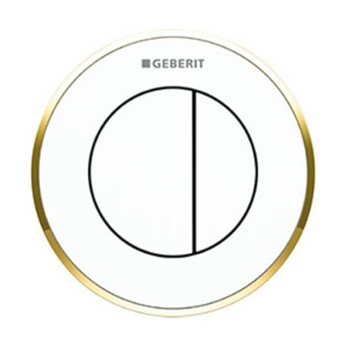 Pulsador Geberit10 Blanco-Dorado cisterna 12 cm