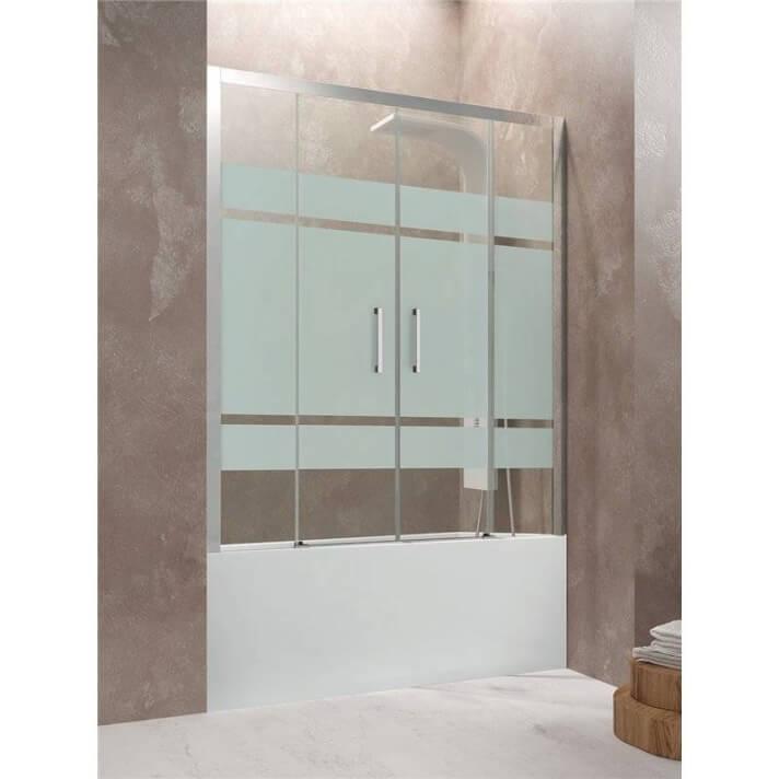 Pare-baignoire frontal 2 portes coulissantes avec motifs AKTUAL GME