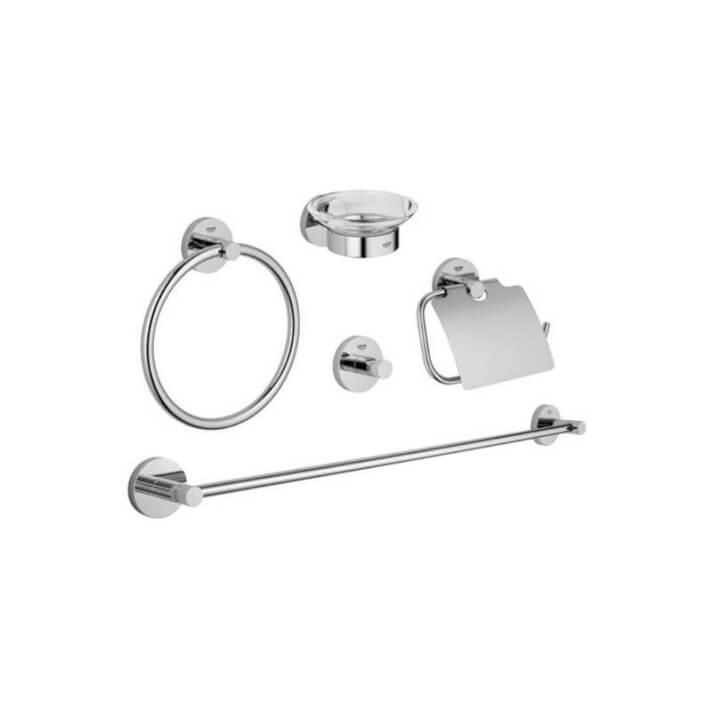 Gancio a parete e kit 4 accessori per il bagno Grohe Essentials